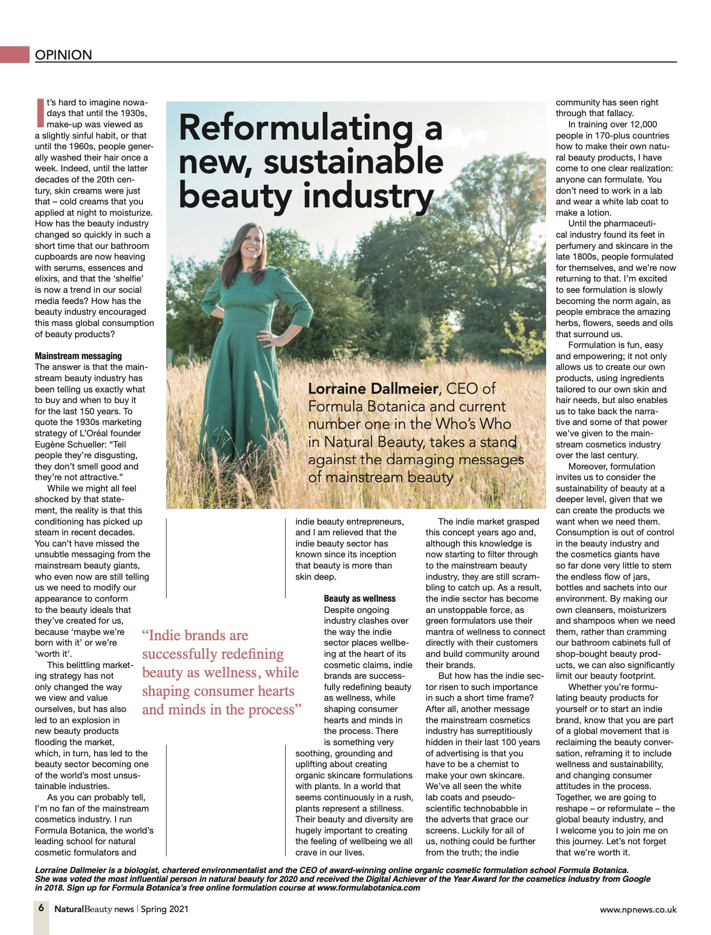 Lorraine Dallmeier Media Interview - Natural Beauty News