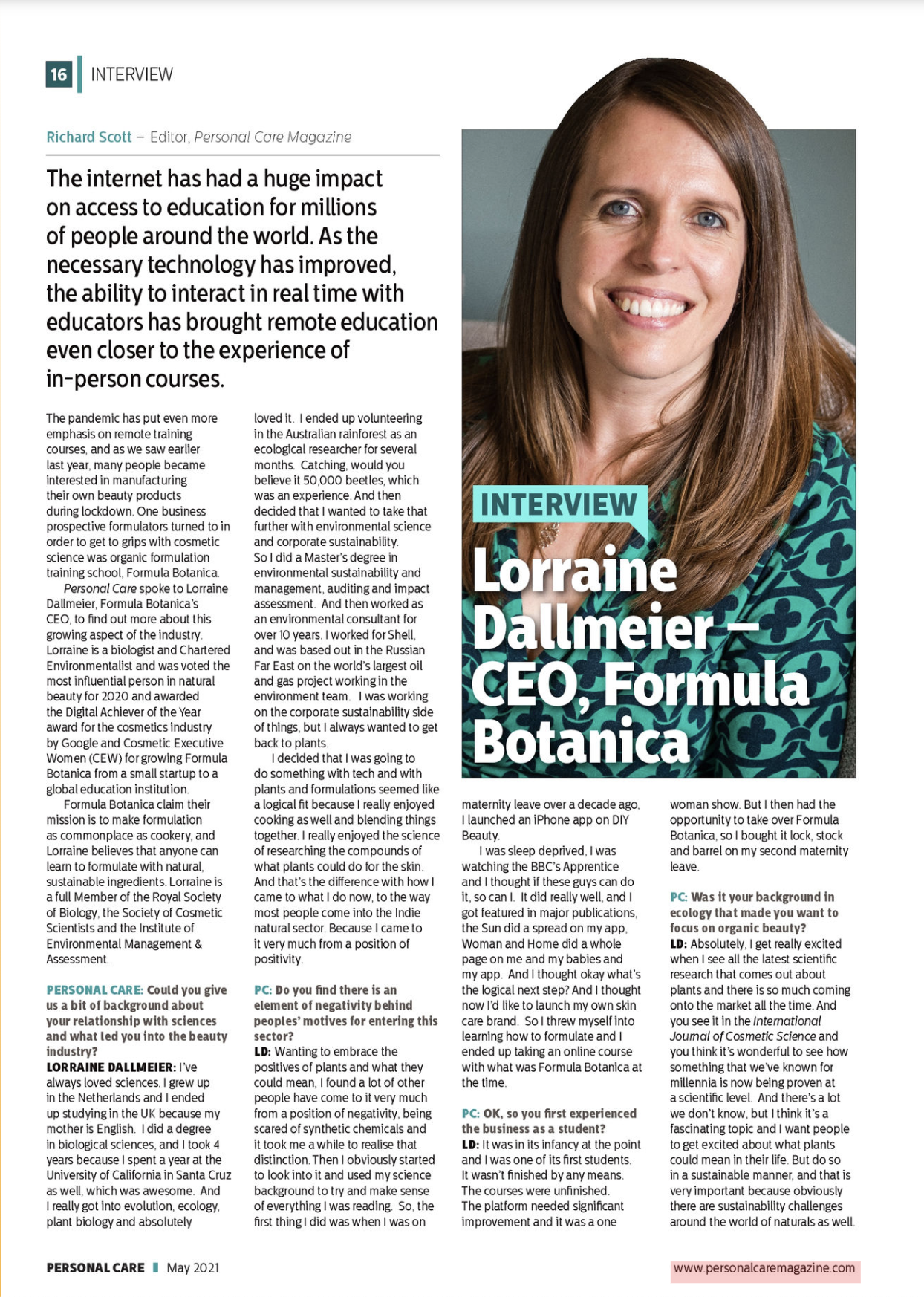 Personal Care Global - Lorraine Dallmeier Interview